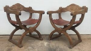 Vintage Spanish Leather Chairs Antique