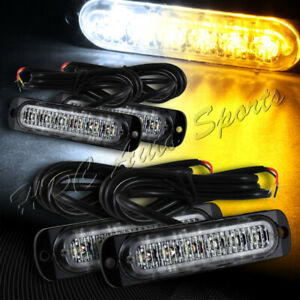 24 Led White amber Emergency Beacon Warning Hazard Flash Strobe Light Universal