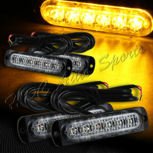 24 Led Amber Car Truck Emergency Beacon War Hazard Flash Strobe Light Universal