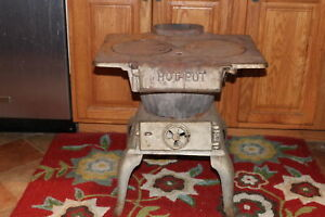 Antique Hot Pot Cast Iron Stove Coal Charcoal Wood Cooking Stove Country Decor
