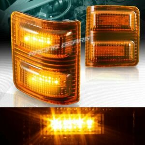 Amber Lens Side Mirror Amber Led Turn Signal Lights Fit 08 16 Ford Super Duty
