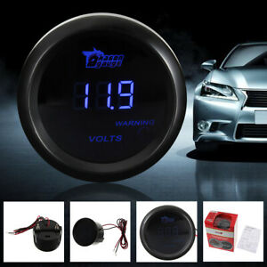 2 52mm Blue Digital Led Universal Car Truck Volt Gauge Voltage Voltmeter Us