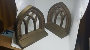 Antique Bronze Bradley Hubbard Architectural Cathedral Windows Bookends