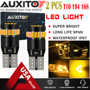 2x T10 Wedge Super Bright Canbus 194 168 2825 Amber Yellow Led Light Bulbs Eoa