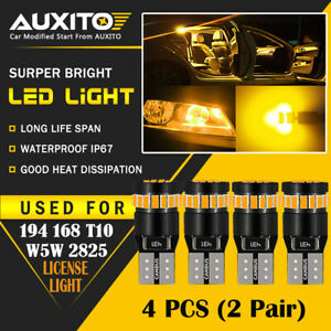 4 Pc Auxito Amber Yellow 168 194 921 License Side Marker Light 24h Led Bulb Eoa