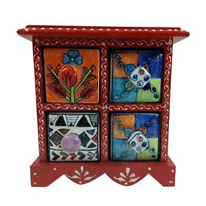 Jewelery Box Gift Handmade Wooden Ceramic Small Chest Of 4 Decorated Drawers