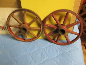 Matched Set Of 2 Antique Wood Spoke Wheels 10 Metal Rims Around