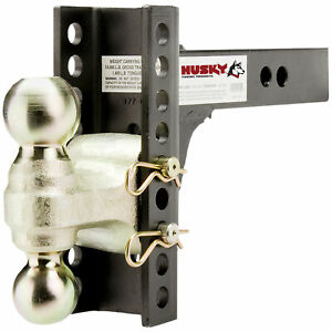 33104 Husky Towing Adjustable Dual Ball Trailer Hitch Mount For 2 Receiver
