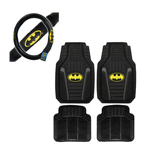 New 5pc Batman Car Truck All Weather Rubber Floor Mats Steering Wheel Cover Set
