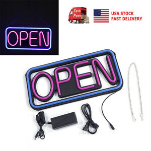 Us 20x10inch Pvc Square Hang Open Led Sign Outdoor Bright Sign Waterproof