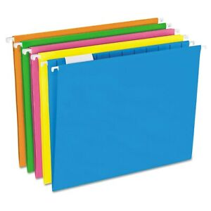 Pendaflex Glow Hanging File Folders 1 5 Tab Letter Glow Assorted 25 box