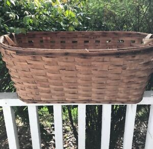 Huge Early Primitive Basket Handmade Basket Laundry Gathering 18 X 30 Vintage