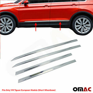 Chrome Side Door Trim Guard Stainless Steel Fits Vw Tiguan Short Model 2018 2021