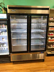 2 Two Door Glass Freezer Led Lighting 47cu 8 Shleves Casters Free Liftgate