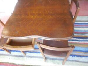 Rare School Desk For 4 Antique Oak 1 Table 4 Chair Set Perfectly Fits Together