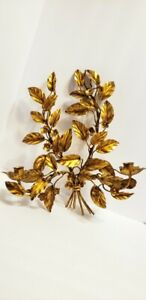 Vintage Italian Wall Sconce Candle Holder Gold Gilt Made Italy Metal Wall Art