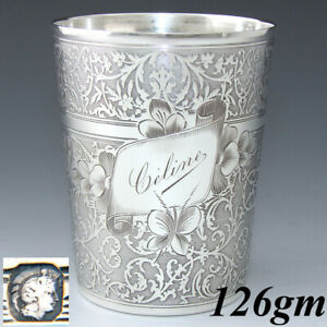 Antique French Sterling Silver Wine Mint Julep Cup Tumbler Timbale Celine