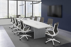 10 Foot Modern Conference Table With Grommets In White Espresso Gray And More