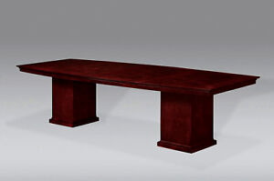Modern Wooden 10 Foot Boat Shaped Conference Table With Cube Legs Beautiful Top