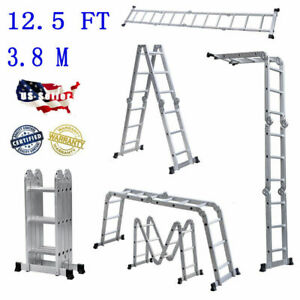 12 5ft Multi Purpose Aluminum Telescopic Ladder Heavy Duty Folding Extension_new