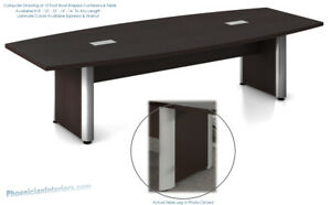 10 Foot Conference Table Has Legs With Gray Metal Trim In Espresso Or Walnut