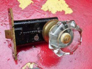 Antique Clear Crystal Glass Door Knob With Sargent Mortise Lock
