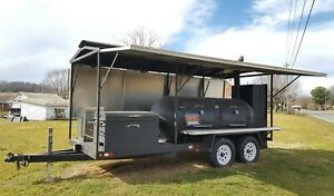 Barbecue Smoker Trailer Double Door Roof Twin Axle Loaded Bbq Cooker In Virginia