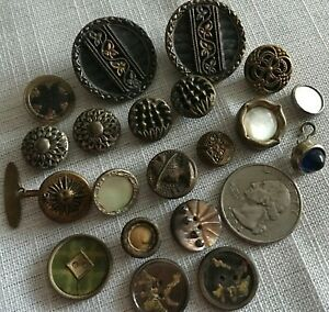 Lot Of 20 Antique Vintage Victorian Metal Picture Buttons Mop Nice