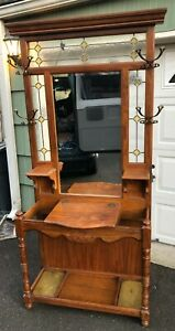 Vintage Oak Hall Tree W Beveled Mirror Stained Glass Panels Umbrella Stand