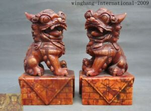 Collection Of China Xiuyan Jade Feng Shui Carved Foo Dog Lion Beast Statue Pair