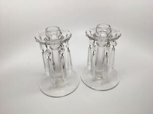 Pair 2 Antique Vintage Glass Candlesticks W Hanging Prisms Mint