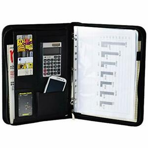 Black Zippered Pu Leather 3 Ring Binder Ipad Padfolio Organizer Documents Card