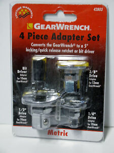 Gearwrench 4pc Metric Ratchet Socket Locking Quick Release Driver Adapter Set