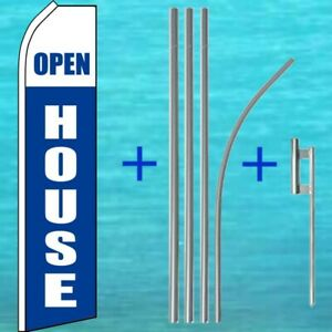 Open House Flutter Flag Pole Mount Kit Real Estate Feather Swooper Banner Sign
