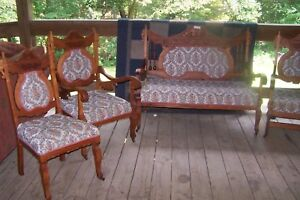 Victorian Eastlake Parlor Set 1880 S 90 S 5 Pieces Beautiful Upholstery