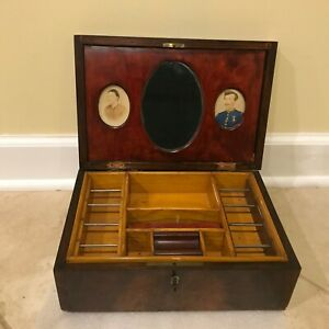 Antique Burled Walnut Wooden Sewing Box W Miniature Portrait Paintings