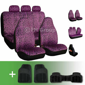 Purple Leopard Velour Seat Covers With Floor Mats