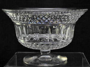 Large Antique Blown Cut Flared Flint Glass Footed 10 Inch Bowl 1840