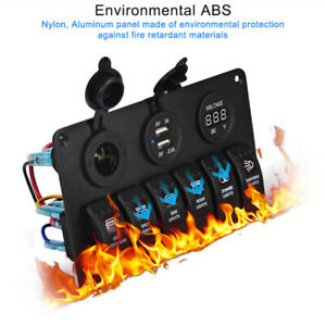 6 Gang On off Toggle Switch Panel Voltmeter 2usb For Car Suv Marine Rv Truck Bg1