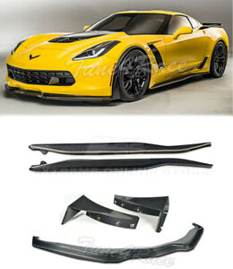 For 14 up Corvette C7 Carbon Fiber Front Lip Side Skirts Stage 3 Side Winglets