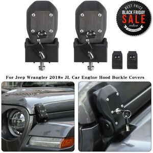 Fit Jeep Wrangler Jl 2018 Hood Lock Latches Buckle Pins Catch With Key Kit Pair