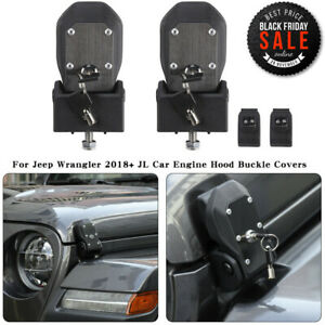 Fit 2018 Jeep Wrangler Jl Hood Lock Latches Buckle Pins Catch With Key Kit Pair