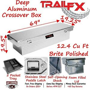 111701 Trailfx 69 Polished Aluminum Crossover Truck Tool Box Extra Deep