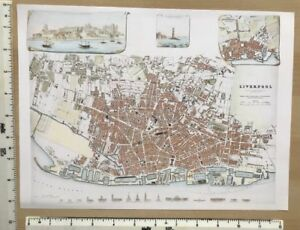 Old Antique Colour Map Of Liverpool England Early 1800 S 12 X 9 Sduk Reprint
