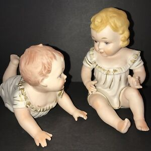 Pair Porcelain Piano Baby Bisque Figurines Royal Kpm Crown Boy Girl