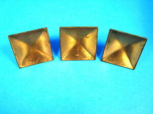 3 Vintage Mid Century Shabby Copper Cabinet Door Drawer Knobs 2 Square Pulls