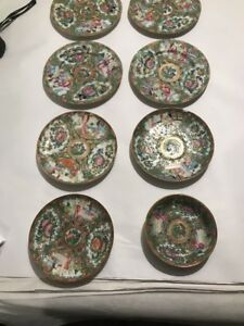 8 Antique Chinese Export Famille Rose Medallion Plates