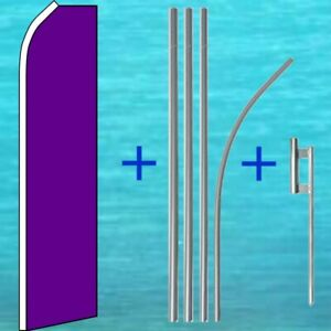 Solid Purple Flutter Flag Pole Mount Kit Tall Wind Feather Swooper Banner Sign