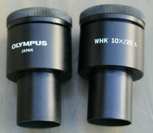 Pair Of Olympus Ocular Whk 10x 20 L Wide Field Microscope Eyepieces Objective
