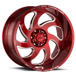 4 22 Inch Offroad Monster M07 22x12 6x5 5 44mm Candy Red Wheels Rims
